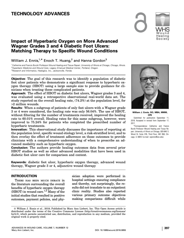 Impact of Hyperbaric Oxygen on More Advanced Wagner Grades 3 and 4 Diabetic Foot Ulcers: Matching Therapy to Specific Wound Conditions