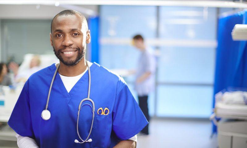 Doctor in hospital room