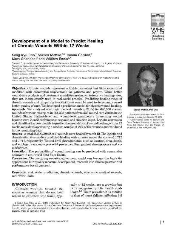 Download Development of a Model to Predict Healing of Chronic Wounds Within 12 Weeks