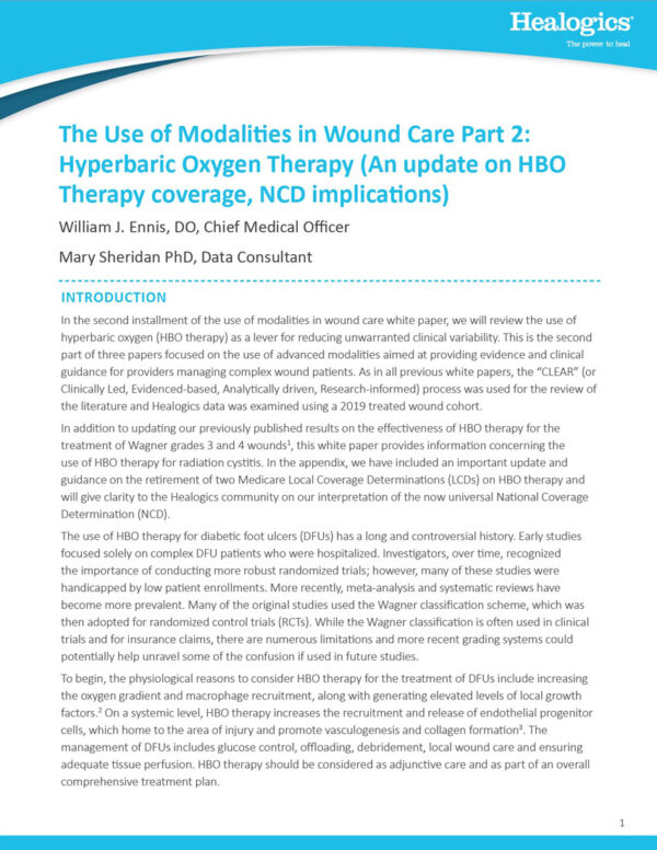 Download The Use of Modalities in Wound Care Part 2: Hyperbaric Oxygen